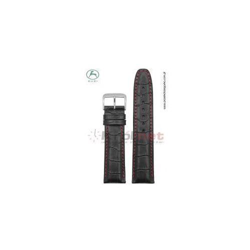Pasek do zegarka Kuki K_308B.KR_CZ/22 - czarny, imitacja krokodyla, kolor czarny