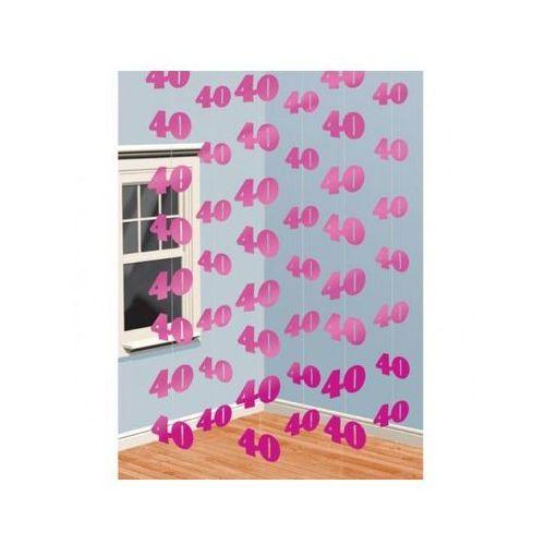 Dekoracja z wiszących łańcuchów na 40 urodziny - różowa - 213 cm - 6 szt.