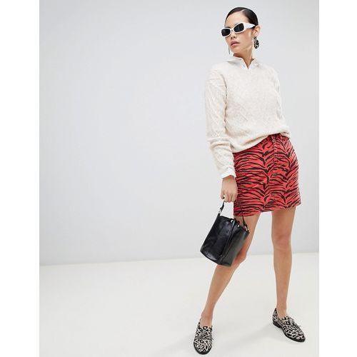 New look animal print denim mini skirt - red