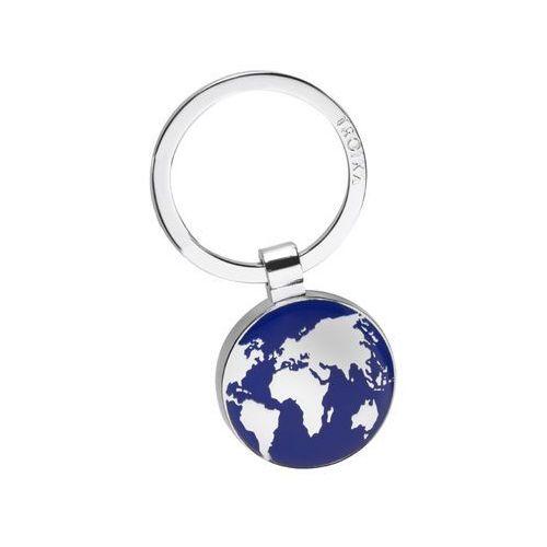 Chromowany brelok do kluczy z mapą kontynentów marki Troika
