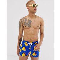 ASOS DESIGN swim shorts in blue with rubber duck print super short length - Blue, w 5 rozmiarach