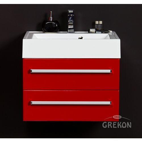 Gante Czerwona szafka wisząca z umywalką 60/50/2 seria fokus cz