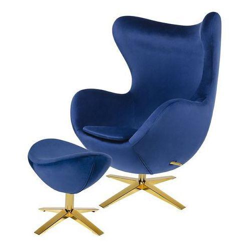 Fotel EGG SZEROKI VELVET GOLD z podnóżkiem HE-066.HM8+OTTO.49G -King Home
