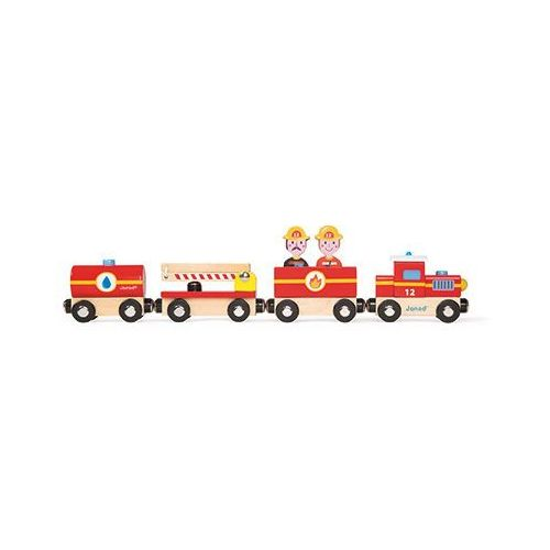 - straż pożarna pociąg drewniany wyprodukowany przez Janod