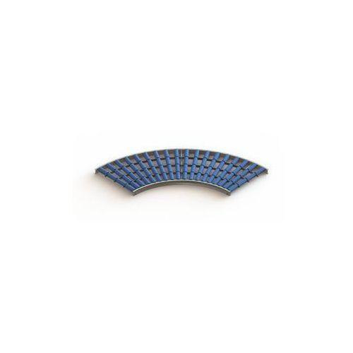 Lekki przenośnik rolkowy, rama stalowa i rolki z tworzywa,szer. taśmy 600 mm, łuk 90° marki Gura fördertechnik