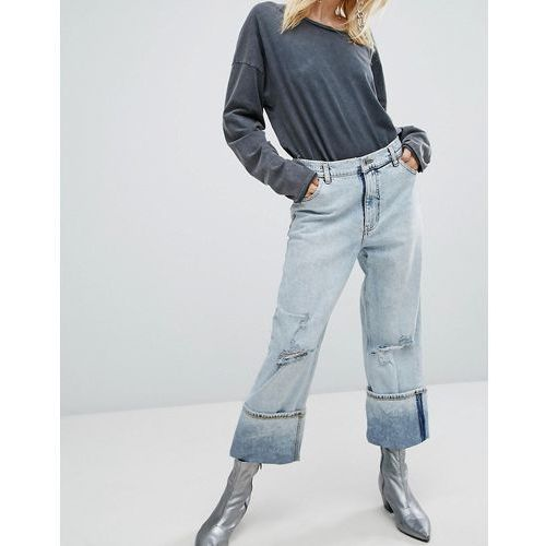 relaxed raw cut jean with turn up - blue marki Cheap monday