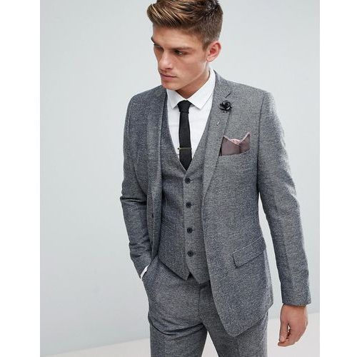 semi plain donegal slim fit suit jacket - grey, French connection