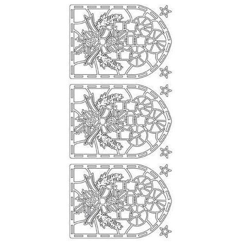 Herma Sticker srebrny 13640 - witraż ze świeczkami x1