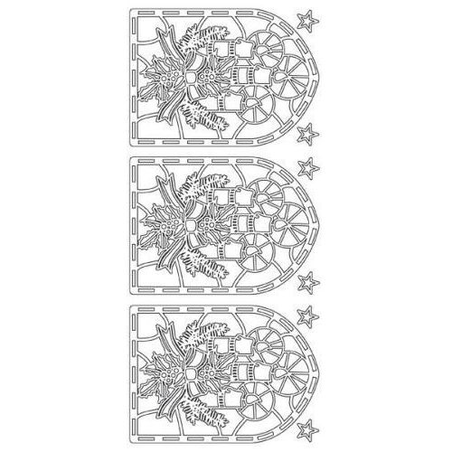 Sticker srebrny 13640 - witraż ze świeczkami x1 marki Herma