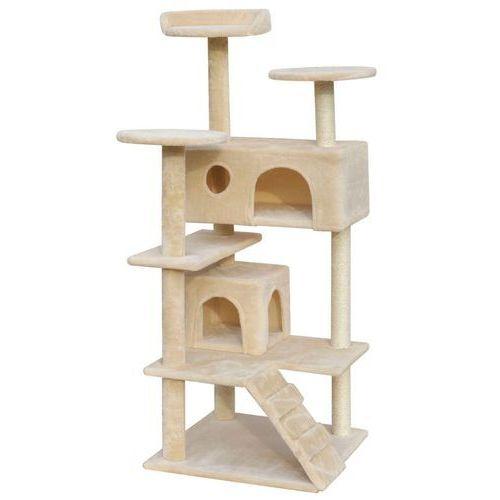 vidaXL Beżowy drapak dla kota: 2 domki, drapaki, legowiska, 126 cm