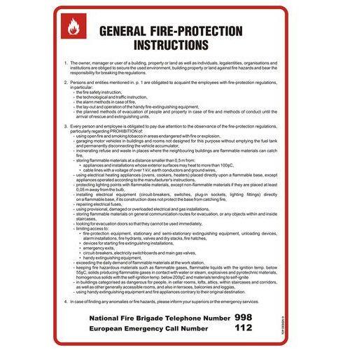 General fire - protection instructions. instrukcja ogólna przeciwpożarowa (wersja angielska) marki Top design
