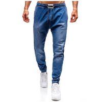 Spodnie jeansowe joggery męskie niebieskie Denley 2053, jeans