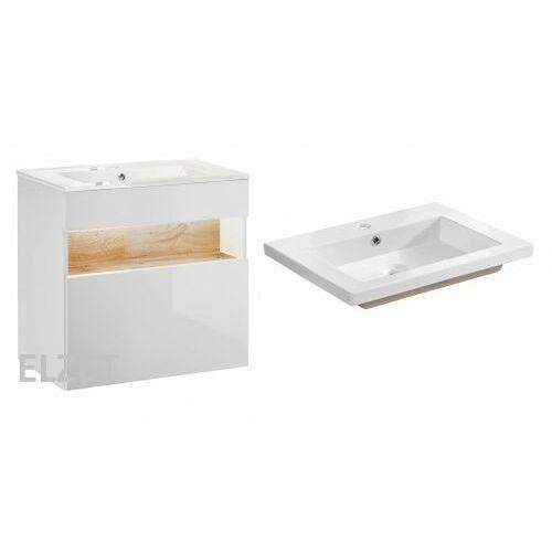 Comad szafka bahama white biała/dąb wotan + umywalka spirit 60 bahamawhite820+um-8070-60