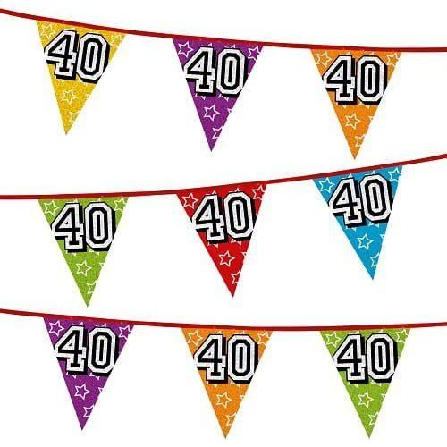 Girlanda z flag na 40 urodziny, kolorowe flagi holograficzne