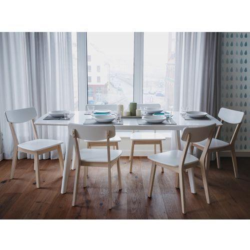 Beliani Stół biały - do kuchni - do jadalni - rozkładany - 150/195 cm - sanford (7105274723426)