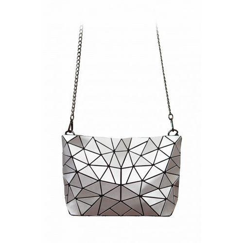 Geometric kopertówka srebrna na łańcuszku, kolor szary