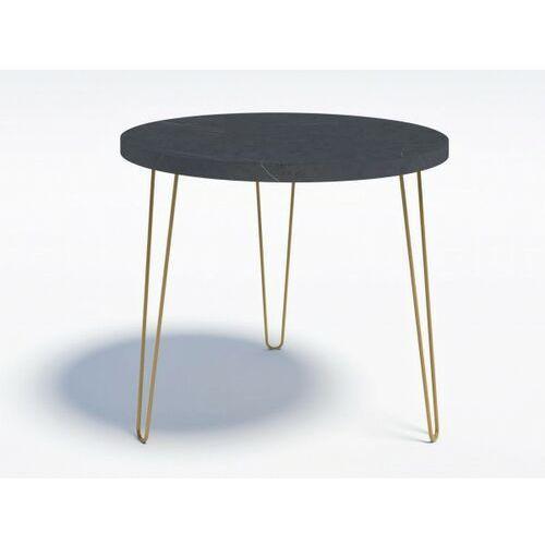 Minimalistyczny stół okrągły RING P 90 Złote nogi Wytrawny szary kamień, RINGP_90_ZWSK