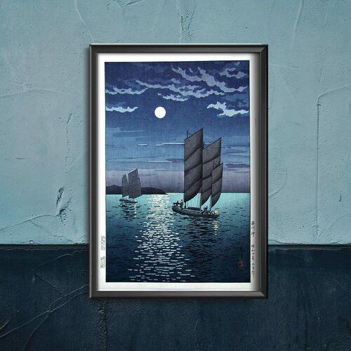 Vintageposteria.pl Plakatyw stylu retro plakatyw stylu retro łodzie nocą autorstwa tsuchiya koitsu