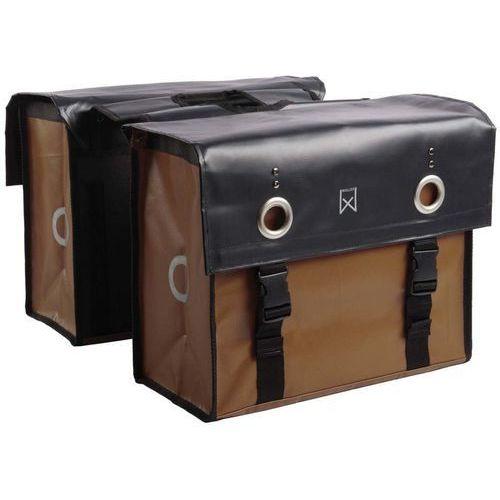 torba rowerowa na gazety, płótno, 52 l, czarno-brązowa, matowa marki Willex