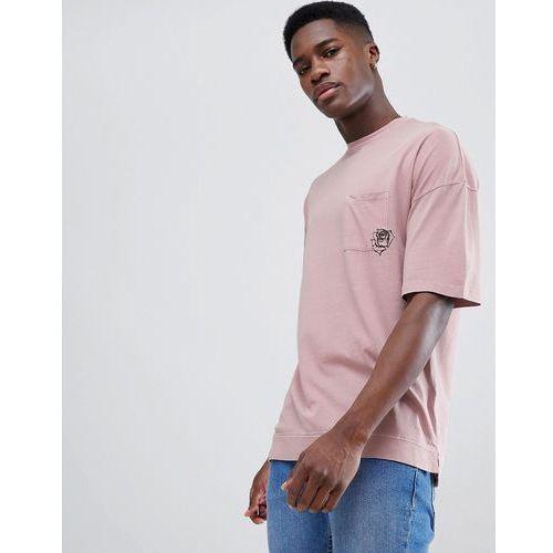drop shoulder t-shirt with rose pocket - pink, Tom tailor, S-XXL