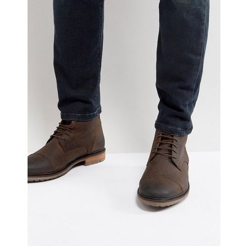 Silver street toe cap boots in brown leather - brown