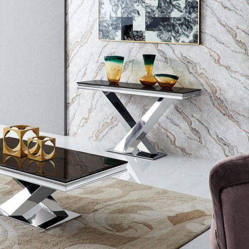 Bellacasa Konsola glamour cameron - stal szlachetna blat kamienny nowoczesny (5908273395555)