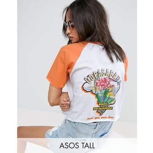 ASOS TALL T-Shirt in Boxy Fit with Contrast Raglan and Island Print - Multi