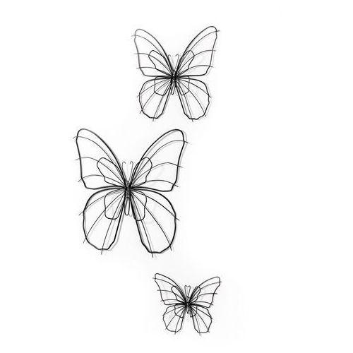 "Bonprix Ozdoba ścienna ""motyle"" (3 części) srebrny kolor"
