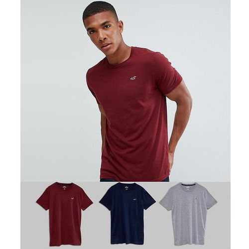 Hollister 3 pack crewneck t-shirt seagull logo slim fit in grey/burgundy/navy - multi