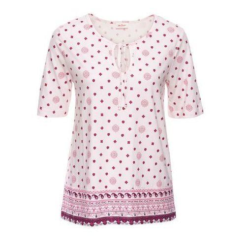 Tunika shirtowa z nadrukiem, krótki rękaw bonprix bladoróżowy z nadrukiem, kolor różowy