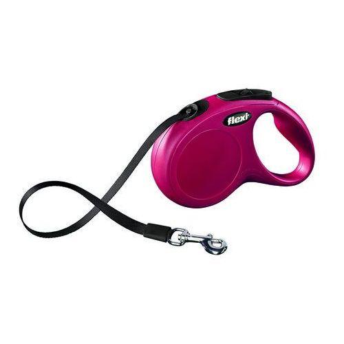 Flexi  smycz automatyczna new classic m-l taśma - 5m - do 50kg kolor: czerwony