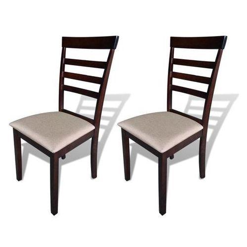 Krzesła do jadalni, 2 szt., drewniane, brązowo-kremowe, kolor beżowy