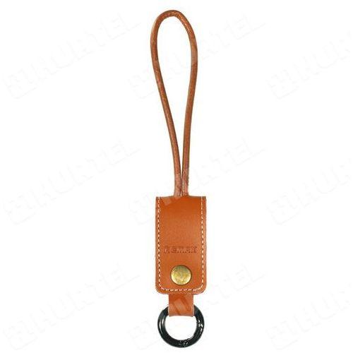 REMAX brelok na klucze z naturalnej skóry z kablem USB Lightning brązowy - Brązowy