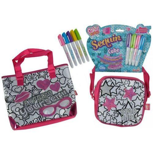 color me mine zestaw 2 torebek do kolorowania + 9 markerów marki Simba