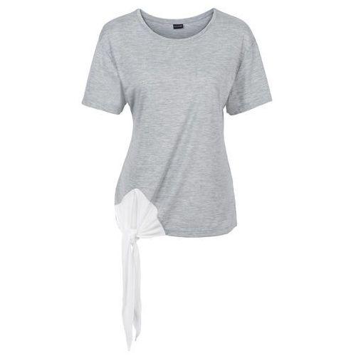 Shirt z przewiązaniem bonprix jasnoszary melanż - kremowy, kolor wielokolorowy