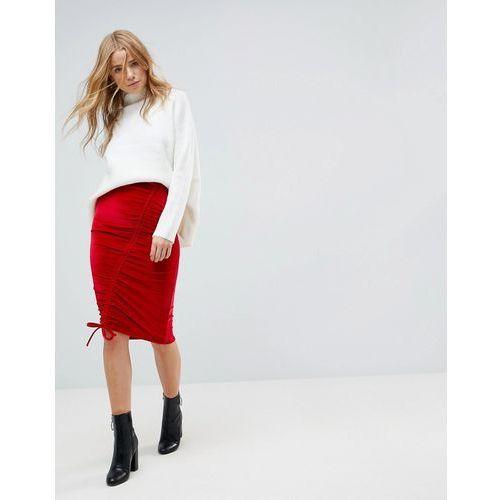 ruched velvet midi skirt - red marki Miss selfridge
