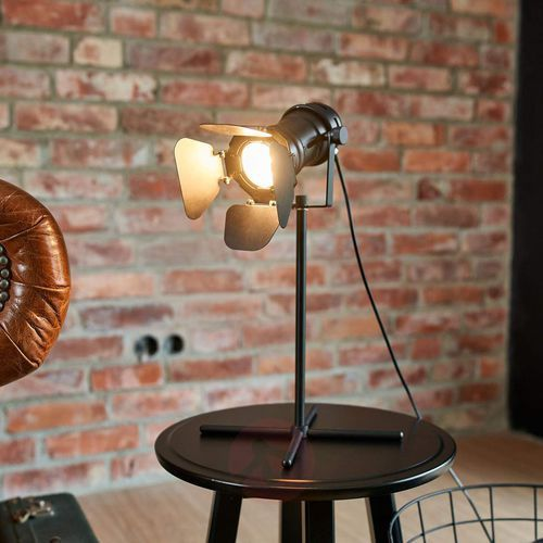 Lampenwelt.com Lampa stołowa solena, czarny, reflektor