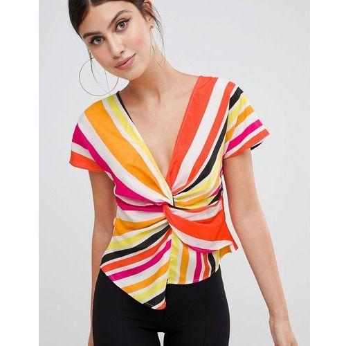 rainbow stripe twist front top - multi marki Prettylittlething