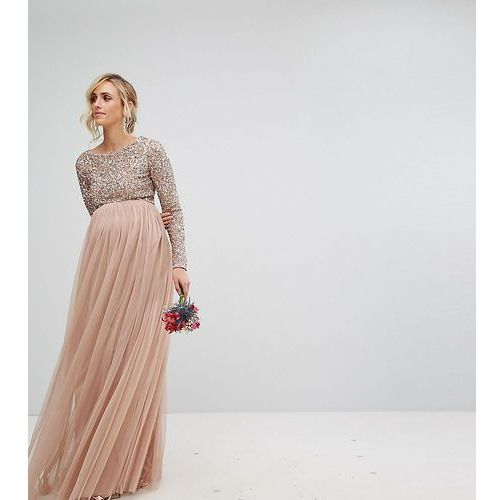 Maya Maternity Bridesmaid long sleeved maxi dress with delicate sequin and tulle skirt - Brown