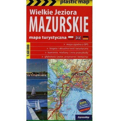 Wielkie Jeziora Mazurskie mapa foliowana 1:60 000 Expressmap (2010) - OKAZJE