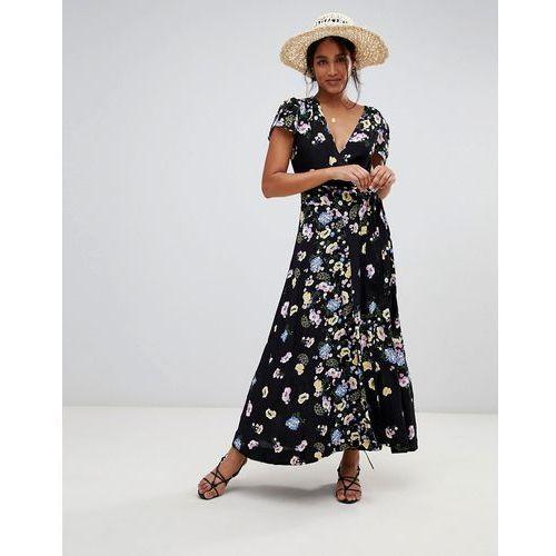 gorgeous floral wrap maxi dress - black marki Free people