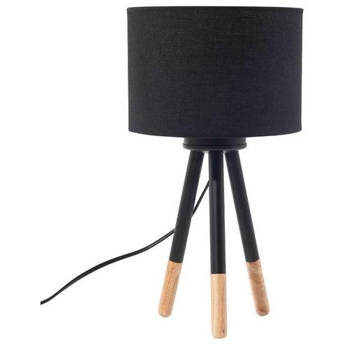 Lampa stołowa nocna drewno trójnóg czarna TOBOL