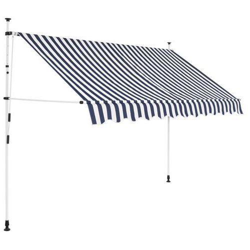 vidaXL Markiza zwijana ręcznie, 250 cm, niebiesko-białe pasy (8718475507840)