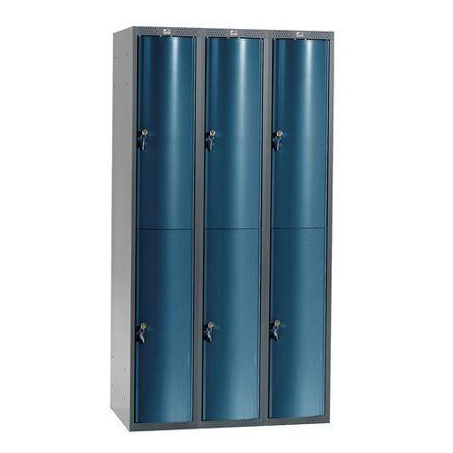 Metalowa szafa ubraniowa curve, 3x2 drzwi, 1740x900x550 mm, niebieski marki Aj produkty