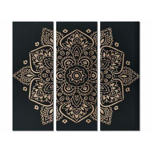 Vente-unique Tryptyk z drewna mandala - 30x90x3.8 cm - kolor czarny i naturalny