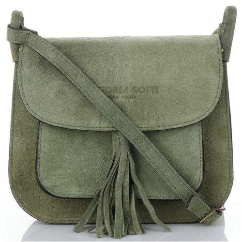 23ee61e87a789 włoskie torebki skórzane listonoszki na każdą okazję w całości wykonane z  wysokiej jakości zamszu naturalnego zielona