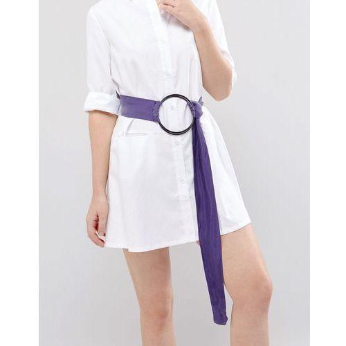 Asos oversized ring sash belt mauve with black metal work - purple