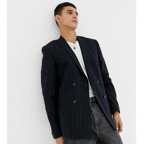 Noak slim fit harris tweed blazer jacket in navy - Blue