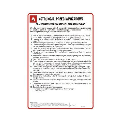Top design Instrukcja przeciwpożarowa dla pomieszczeń warsztatu mechanicznego
