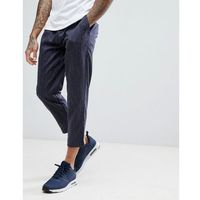 boohooMAN Pin Stripe Cropped Joggers In Navy - Navy, kolor szary